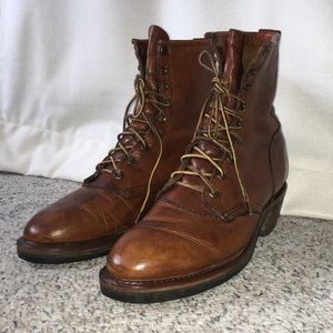 Vintage Chippewa lace-up leather packer boots 🥾